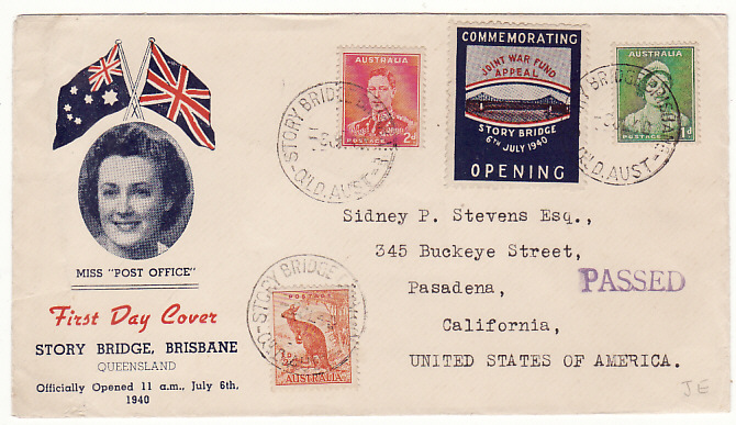 [13381]  AUSTRALIA-USA…WW2 STORY BRIDGE 1st DAY OPENING with JOINT WAR FUND APPEAL PATRIOTIC..  1940(Jul 6)