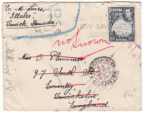 [13796]  BERMUDA-GB...WW2 RETURNED MAIL with PATRIOTIC LABEL..  1941(Aug 9)