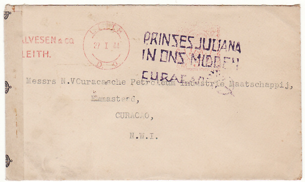 [15078]  GB-NEDERLANDS WEST INDIES…WW2 CENSORED..  1944(Jan 27)