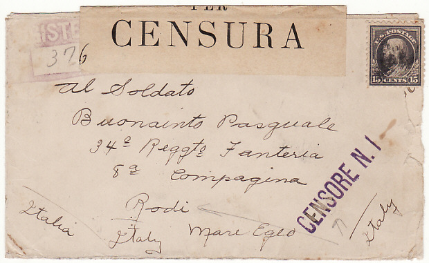 [11753]  USA-ITALY ...WW1 REGISTERED CENSORED to ITALIAN FORCES on RHODES..  1915(Aug 10)