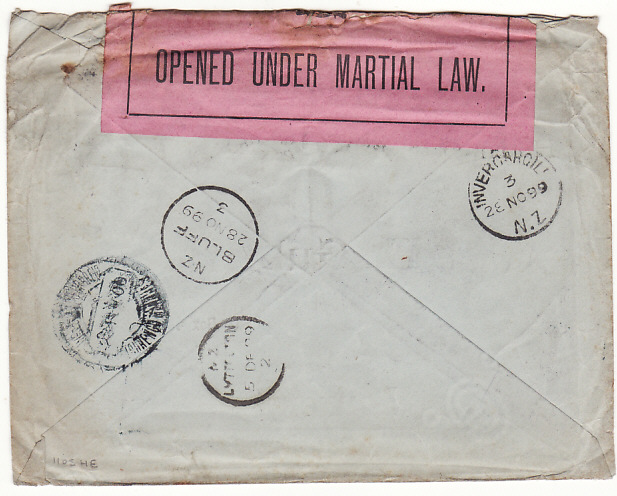 [11809]  GERMANY - PORT. EAST AFRICA …..1899 BOER WAR MISSENT TO NZ..  1899(Oct 18)