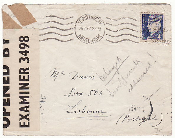 [12292]  FRANCE-PORTUGAL..WW2 THOMAS COOK PO BOX 506 UNDERCOVER MAIL..  1942(Jun 25)