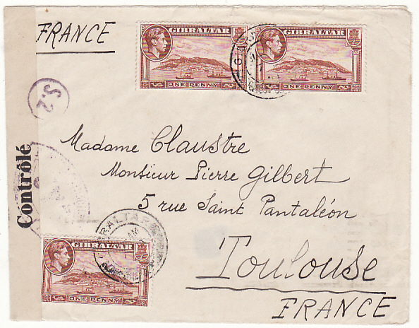 [15355]  GIBRALTAR-FRANCE…WW2 DOUBLE CENSORED GIBRALTAR & FRANCE..   1941(Jan 8)