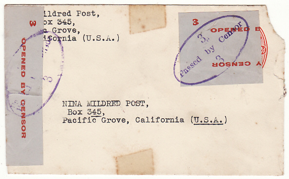 "[10364]  ""AUSTRALIA-USA…WW2 US FORCES SANITIZED ENVELOPE... 