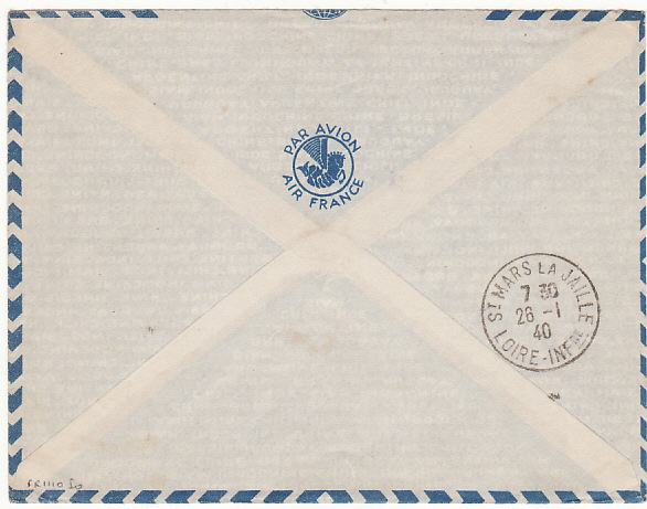 [15805]  SENEGAL-FRANCE….1940 FRENCH NAVAL MAIL..  1940(Jan)