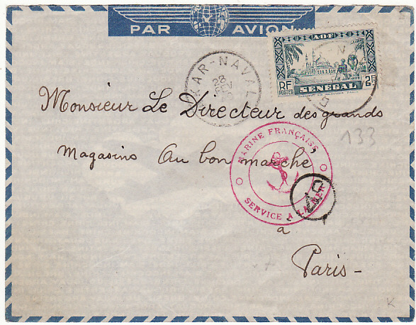 SENEGAL-FRANCE…..1940 FRENCH NAVAL MAIL..  1940(Feb 28)