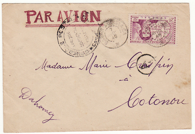 [15808]  SENEGAL-DAHOMEY….WW2 CENSORED AIRMAIL..  1940(Apr 7)