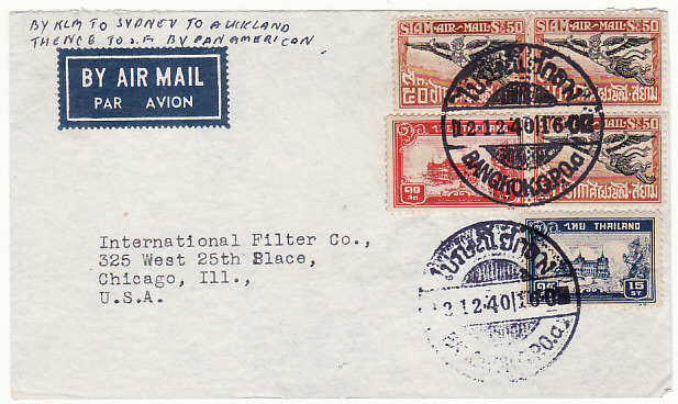 [15827]  THAILAND-USA...WW2 AIRMAIL..  1940(Dec 2)