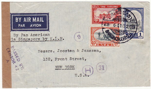 [15830]  THAILAND-USA..WW2 AIRMAIL CENSORED THAILAND & SINGAPORE ..]  1941(Jun 28)