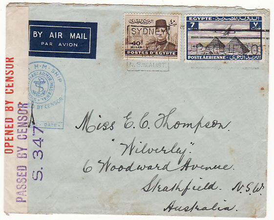 [16706]  EGYPT-AUSTRALIA…WW2 CENSORED NAVAL AIRMAIL with PAQUEBOT..  1940(Sep 24)