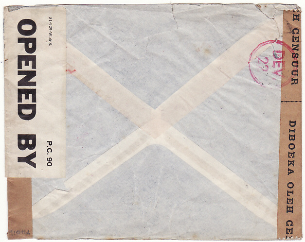 [15128]  N.E.I.-GB…WW2 CENSORED TRANS PACIFIC & TRANS ATLANTIC 2 OCEAN AIRMAIL with OAT..  1941(Oct 9)