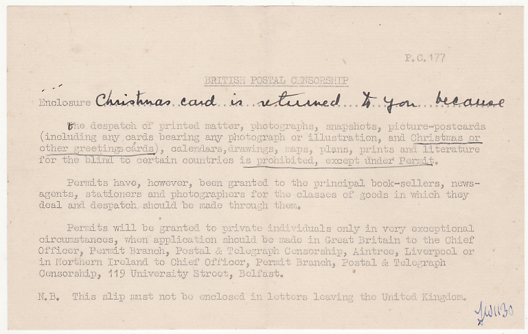 [16247]  GB-SWEDEN...RETURNED BY CENSOR with ENCLOSURE..  1944(Nov 16)