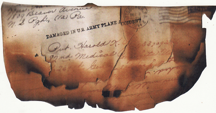 [16898]  INDIA...WW2 US FORCES in CBI THEATER PENALTY AMBULANCE ENVELOPE with SALVAGE from US MILITARY AIR CRASH...   1944(Dec)