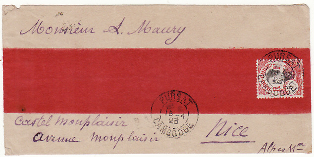 [16497]  CAMBODIA - FRANCE…RED BAND COVER from PURSAT..   1923(Apr 16)