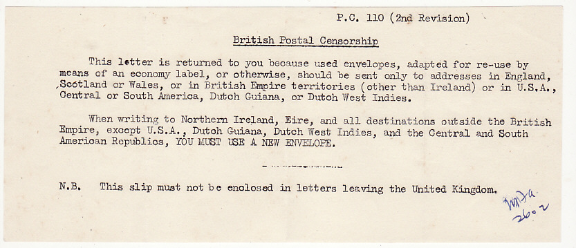 [16251]  NORTHERN IRELAND..WW2 RETURNED BY CENSOR WITH ENCLOSURE  1943(May 18)