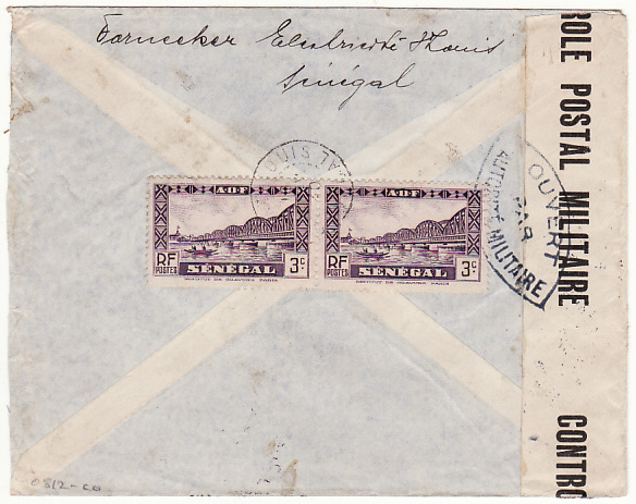[16604]  SENEGAL-IVORY COAST...WW2 CENSORED REGISTERED AIRMAIL..  1940(Nov 16)