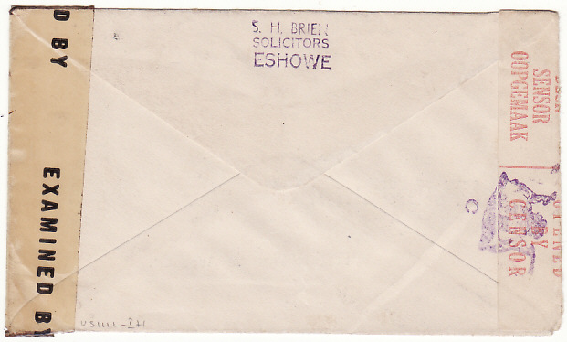 [17083]  SOUTH AFRICA-USA ...WW2 ZULULAND NATAL AIRMAIL & DOUBLE CENSORED  1944(Oct 24)