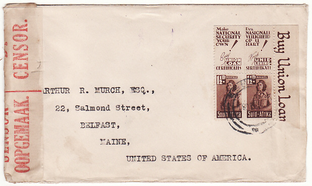 [17084]  SOUTH AFRICA-USA..WW2 ZULULAND NATAL CENSORED& with PATRIOTIC TABS  1942(Oct 18)