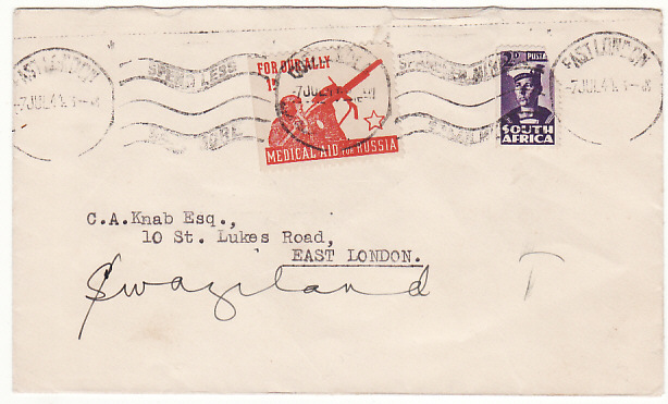 [17085]  SOUTH AFRICA-SWAZILAND...WW2 UNCENSORED PATRIOTIC MEDICAL AID TO RUSSIA LABEL..  1944(Jul 7)