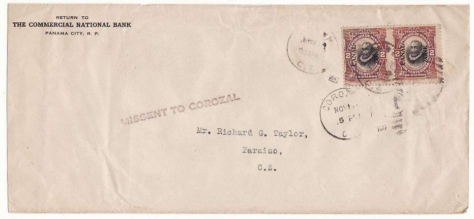 [17130]  CANAL ZONE….1917 INTERNAL MAIL MISSENT TO COROZAL  1917(Nov)