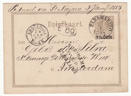 [17264]  NED. WEST INDIES...SURINAME POSTAL STATIONARY to HOLLAND..  1883(Jan 3)