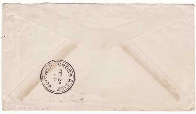 [17416]  NED. WEST INDIES..CURACAO- JAMAICA....WW2 CENSORED INTER ISLAND MAIL...  1941 (Feb 8)