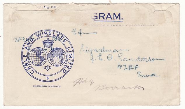 [17368]  NEW ZEALAND-FIJI...WW2 CABLE & WIRELESS CHRISTMAS GREETINGS TELEGRAM...  1940 (Dec 22)