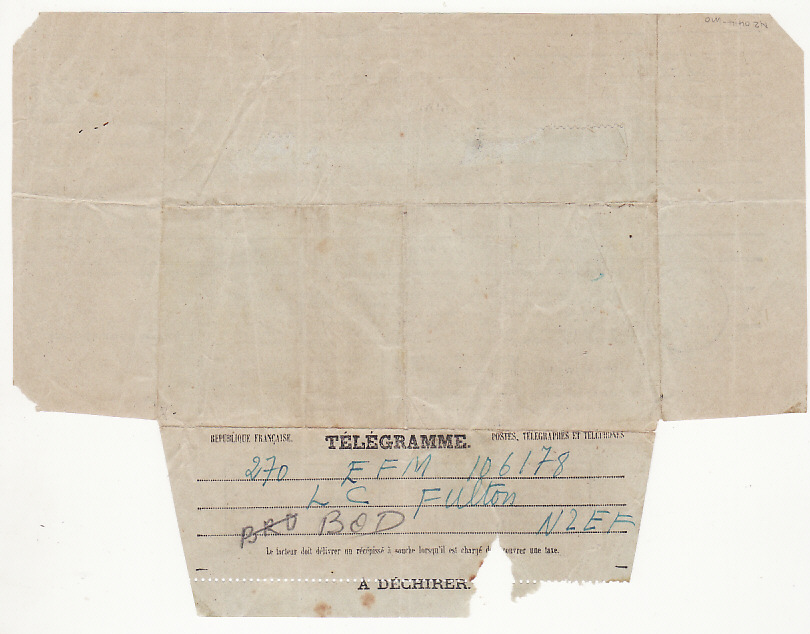 [17497]  NEW ZEALAND-NEW CALEDONIA..WW2 FOLDED TELEGRAM FORMS to 2nd N.Z.E.F. SOLDIER...   1943(Apr 2)
