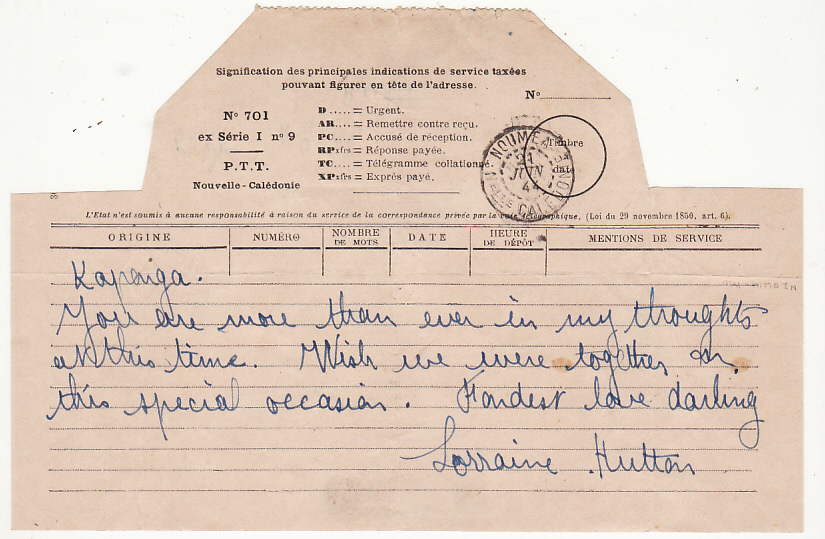 [17498]  NEW ZEALAND-NEW CALEDONIA..WW2 FOLDED TELEGRAM FORMS to 2nd N.Z.E.F. SOLDIER...   1944(Jun 24)