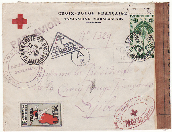 [17484]  MADAGASCAR-DJIBOUTI... WW2 RED CROSS to RED CROSS...  1944(May 27)