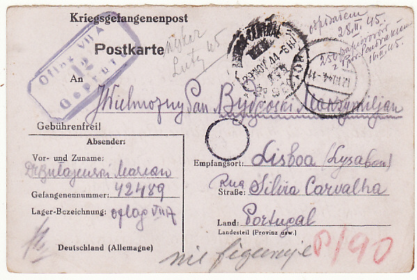 [17643]  GERMANY - PORTUGAL....WW2 POW to FREE POLISH FORCES UNDERCOVER ADDRESS...  1944 (Oct 10)