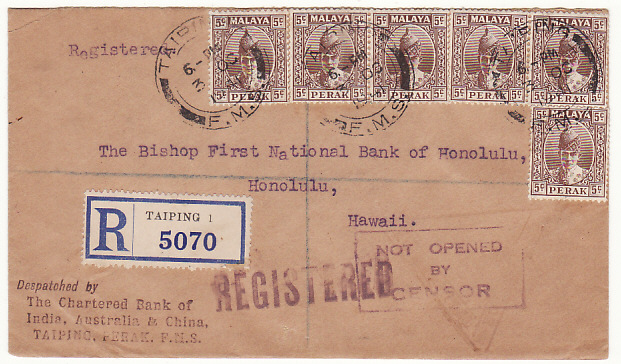 [17703]  MALAYA - HAWAII...WW2 PERAK REGISTERED via HONG KONG....  1941 (Oct 3)