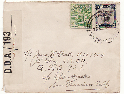 [17804]  SAMOA - NEW GUINEA...1944 RARE CENSOR to US APO 928...  1944 (Nov 28)