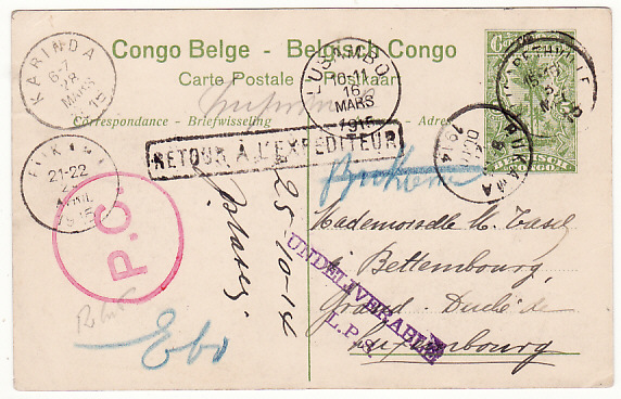 [17859]  BELGIAN CONGO - LUXEMBOURG... 1914 RETURNED TO SENDER...  1914 (Oct 25)