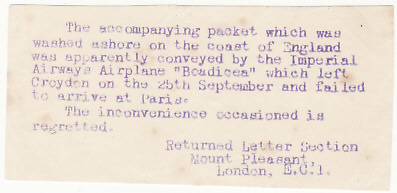"[17872]  GB -INDIA...SALVAGED from AIR LINER ""BOADICEA"" ...   1936 (Sep 24)"