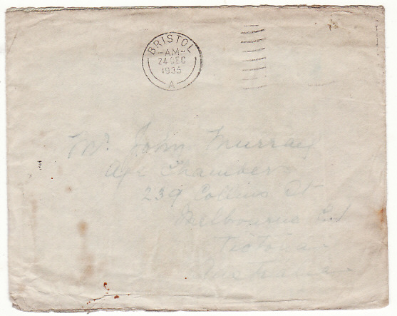 "[17873]  GB - AUSTRALIA...SALVAGED from FLYING BOAT ""CITY OF KHARTOUM"" ...   1935 (Dec 24)"