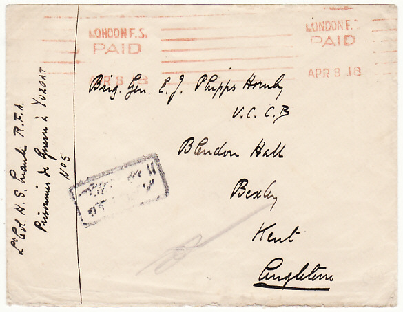 [17965]  TURKEY - GB...WW1 POW HELD in YOZGAT CAMP...  1918 Plain stampless envelope to Brig. Gen. E.J. Phipps Hormby V.C., Bexley, Kent from Lt. Col. H.S. Maude R.F.A. Prisonniers de Guerre in Yozgad No 5 with boxed Turkish Censor hand stamp & cancelled on arrival London /Paid (8 Apr)