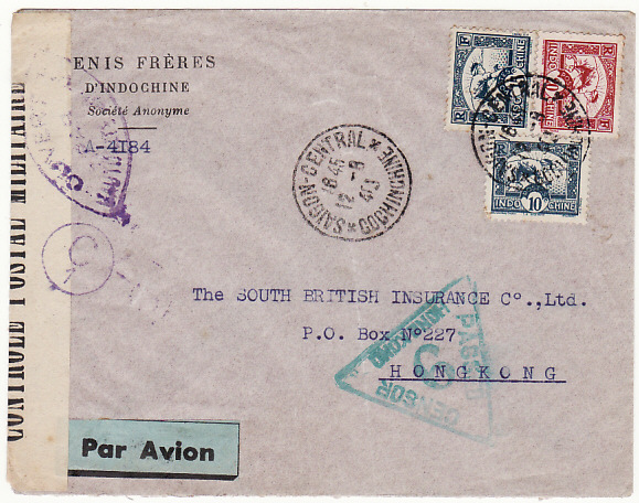 [17993]  INDO-CHINE-HONG KONG…WW2 DOUBLE CENSORED…  1940 (Aug 12)