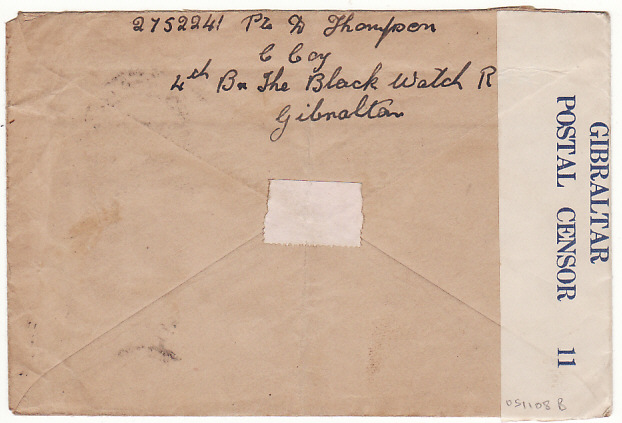 [18000]  GIBRALTAR - GB…WW2 BLACK WATCH… Di 1941 (Oct 10)