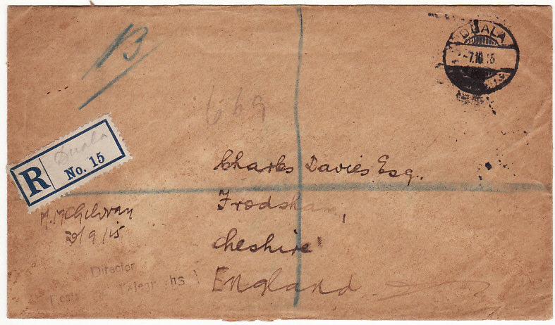 [18035]  CAMEROUNS - GB …WW1 REGISTERED CAPTURED GERMAN STATIONARY…  1915 (Sep 29)