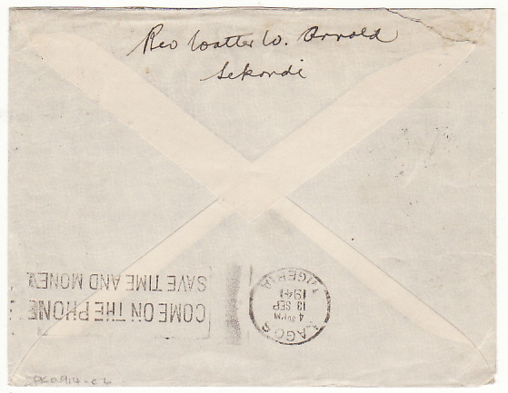 [18305]  GOLD COAST - NIGERIA…WW2 DOUBLE CENSORED AIRMAIL…  1941 (Sep 9)
