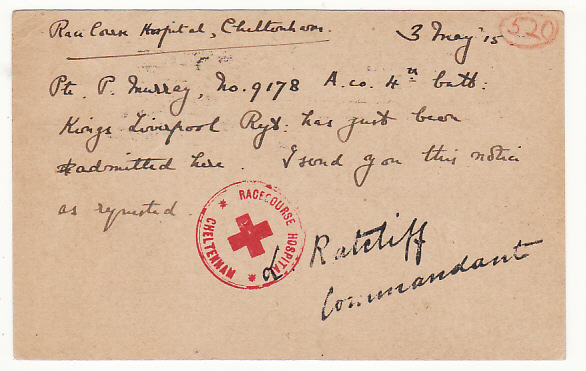 [18324]  GB…KINGS LIVEROOL REGT. RACE COURSE HOSPITAL CHELTENHAM...  1915 (May 3)