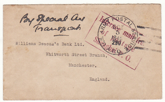 [18388]  CHINA - GB…1945 INTERNEE MAIL from SHANGHAI P.O….   1945 (Oct 5)