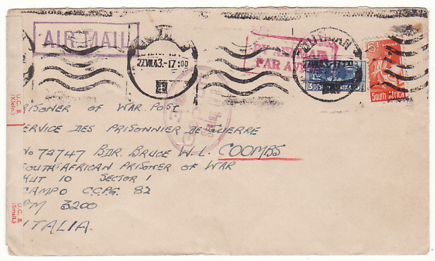 [18419]  SOUTH AFRICA - ITALY…CENSORED AIRMAIL to POW..  1943 (Jul 27)