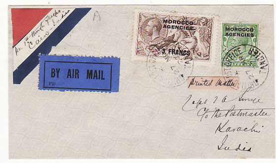 [18520]  MOROCCO AGENCIES - INDIA…1927 AIRMAIL…  1927 (Mar 27)
