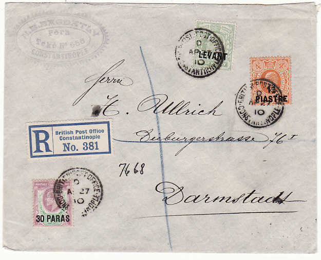 [18521]  BRITISH LEVANT - GERMANY…1910 REGISTERED…  1910 (Apr 27)
