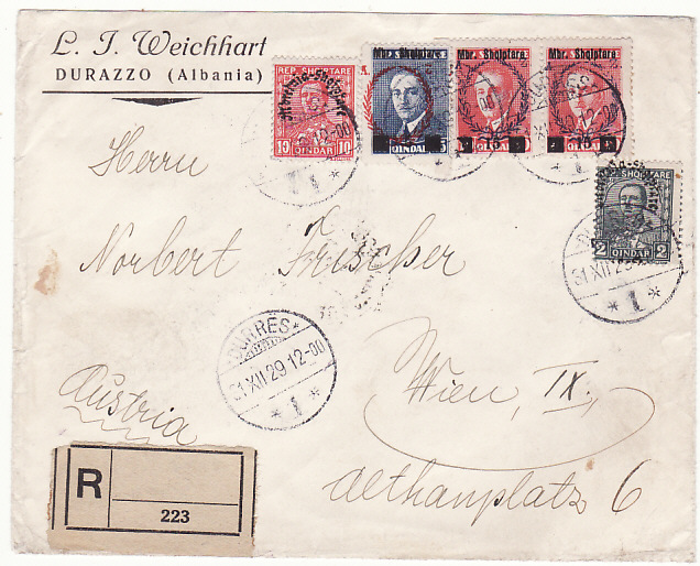 [18536]  ALBANIA - AUSTRIA…1929 REGISTERED via ITALIAN TPO…  1929 (Dec 31)
