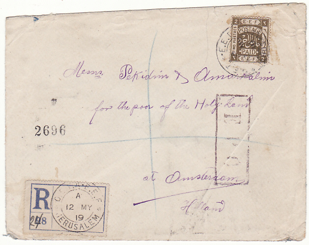 [18561]  PALESTINE - NETHERLANDS...BRITISH MILITARY OCCUPATION REGISTERED..  1919 (May 12)