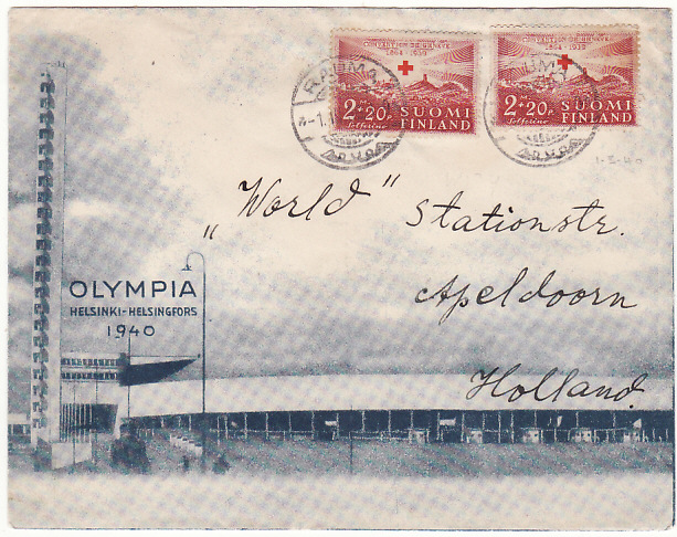 [18572]  FINLAND - HOLLAND..1940 HELSINKI OLYMPIC GAMES ...   1940 (Mar 1)