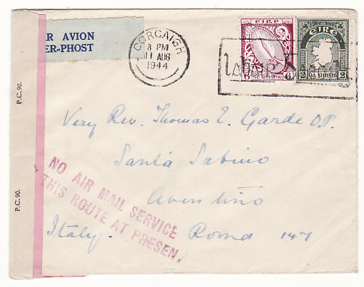 [18614]  IRELAND - ITALY…WW2 DOUBLE CENSORED NO AIR MAIL SERVICE...   1944 (Aug 11)